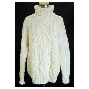 INIS CRAFTS Turtleneck Sweater Merino Wool Cable